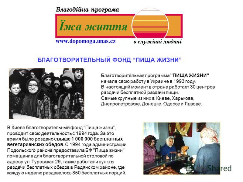БЛАГОТВОРИТЕЛЬНЫЙ ФОНД ПИЩА ЖИЗНИ Благотворительная программа