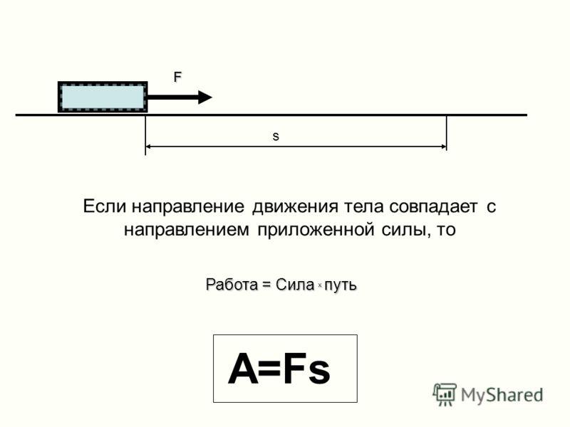 F s Если направление движения тела совпадает с направлением приложенной силы, то A=Fs Работа = Сила х путь F