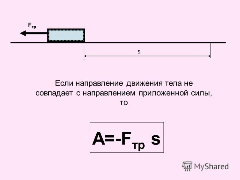 F тр s Если направление движения тела не совпадает с направлением приложенной силы, то A=-F тр s F тр