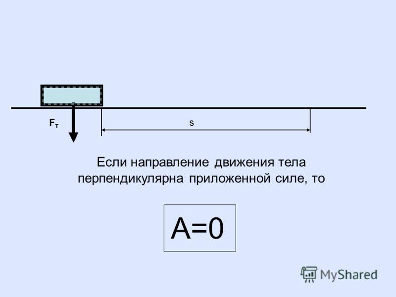 s FтFт Если направление движения тела перпендикулярна приложенной силе, то А=0 FтFт