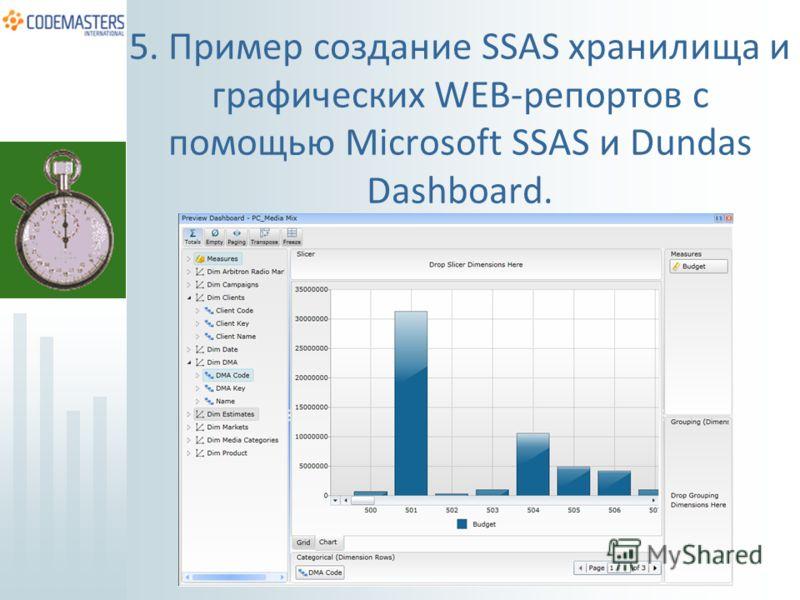 5. Пример создание SSAS хранилища и графических WEB-репортов с помощью Microsoft SSAS и Dundas Dashboard.