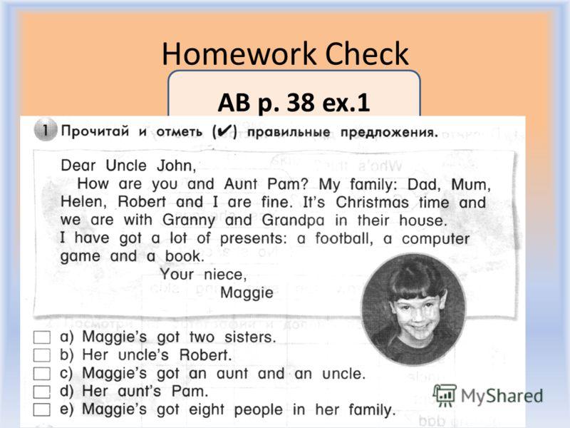 Homework Check Воронцова Н.С. 2011-2012 AB p. 38 ex.1