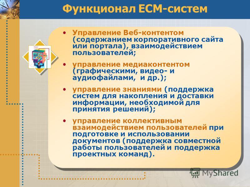 Функционал ECM-систем Управление Веб-контентом (содержанием корпоративного сайта или портала), взаимодействием пользователей; управление медиа контентом (графическими, видео- и аудиофайлами, и др.); управление знаниями (поддержка систем для накоплени