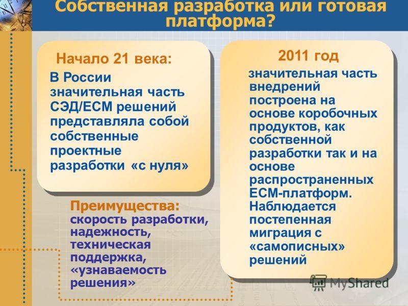 Собственная разработка или готовая платформа? Начало 21 века: В России значительная часть СЭД/ECM решений представляла собой собственные проектные разработки «с нуля» 2011 год значительная часть внедрений построена на основе коробочных продуктов, как