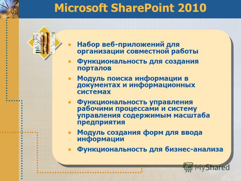 Microsoft SharePoint 2010 Набор веб-приложений для организации совместной работы Функциональность для создания порталов Модуль поиска информации в документах и информационных системах Функциональность управления рабочими процессами и cистему управлен