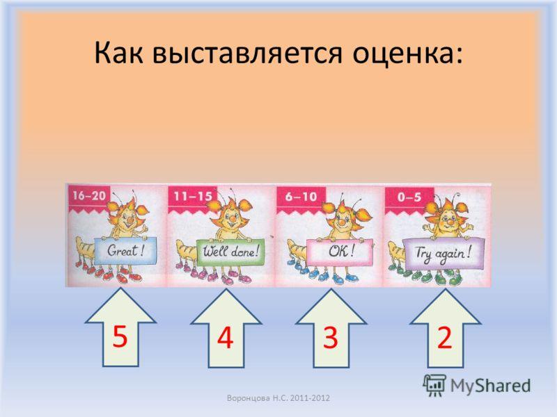 Как выставляется оценка: Воронцова Н.С. 2011-2012 5 432