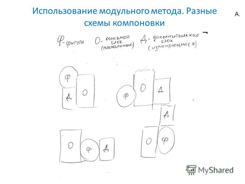 Использование модульного метода. Разные схемы компоновки А.