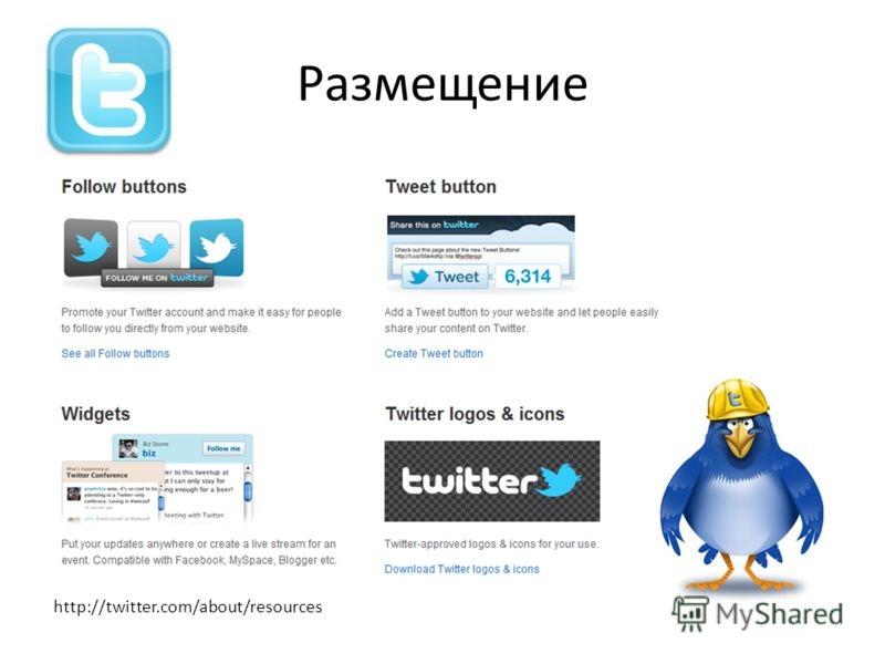 Размещение http://twitter.com/about/resources