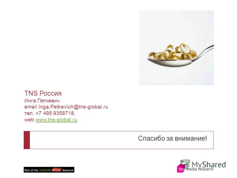 Спасибо за внимание! TNS Россия Инга Петкевич email Inga.Petkevich@tns-global.ru тел. +7 495 9358718, web www.tns-global.ruwww.tns-global.ru