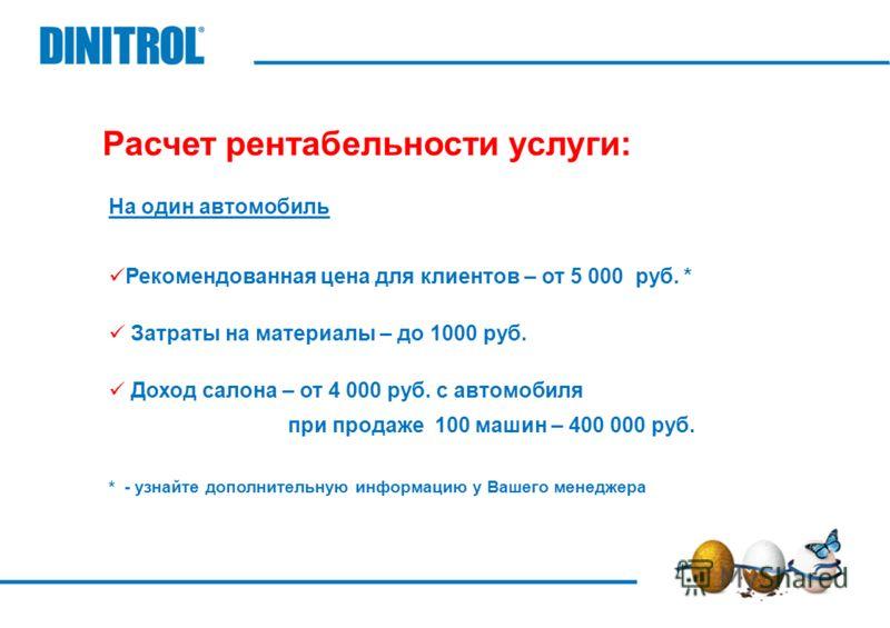 Расчет рентабельности услуги: На один автомобиль Рекомендованная цена для клиентов – от 5 000 руб. * Затраты на материалы – до 1000 руб. Доход салона – от 4 000 руб. с автомобиля при продаже 100 машин – 400 000 руб. * - узнайте дополнительную информа
