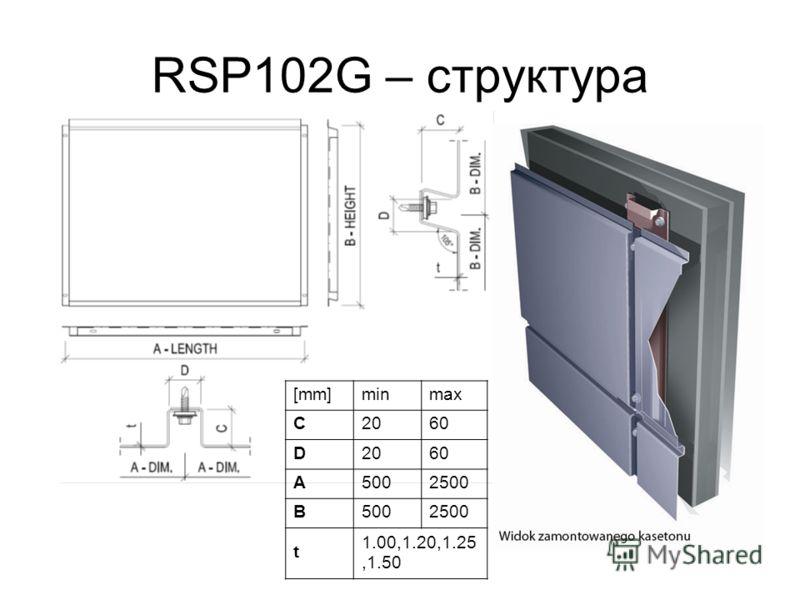 RSP102G – структура [mm]minmax C2060 D2060 A5002500 B5002500 t 1.00,1.20,1.25,1.50