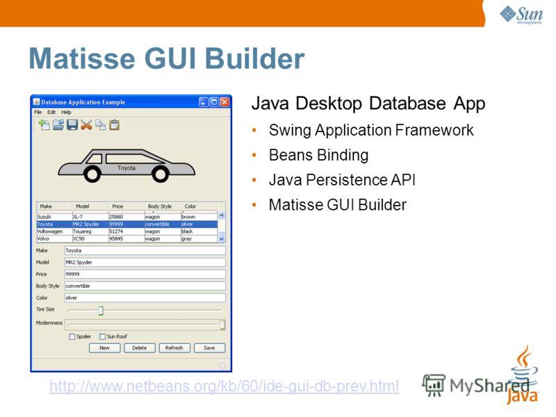 Matisse GUI Builder Java Desktop Database App Swing Application Framework Beans Binding Java Persistence API Matisse GUI Builder http://www.netbeans.org/kb/60/ide-gui-db-prev.html