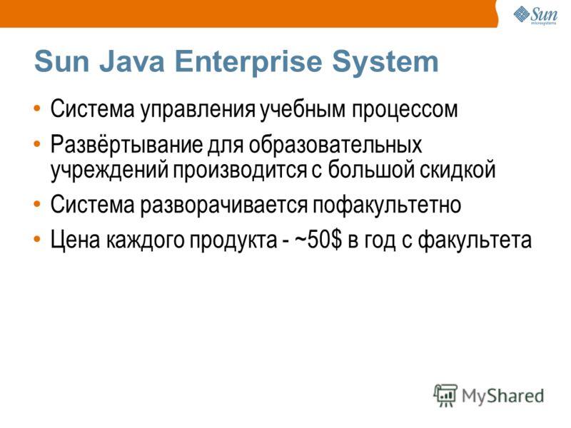 Sun Java Enterprise System Система управления учебным процессом Развёртывание для образовательных учреждений производится с большой скидкой Система разворачивается пофакультетно Цена каждого продукта - ~50$ в год с факультета