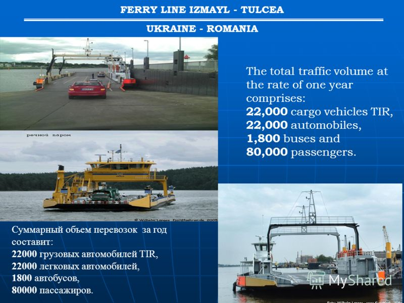 The total traffic volume at the rate of one year comprises: 22,000 cargo vehicles TIR, 22,000 automobiles, 1,800 buses and 80,000 passengers. FERRY LINE IZMAYL - TULCEA UKRAINE - ROMANIA Суммарный объем перевозок за год составит: 22000 грузовых автом
