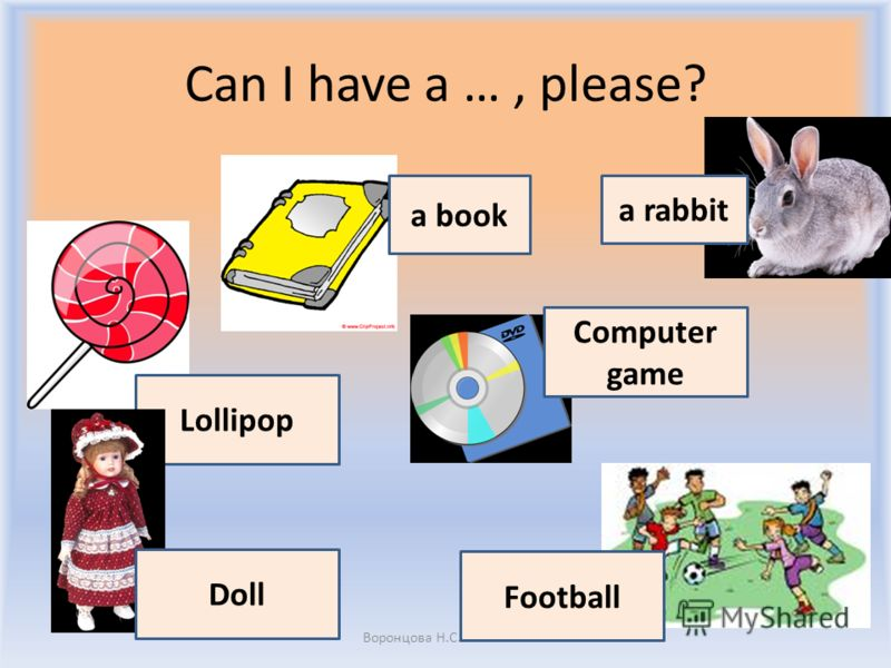 Can I have a …, please? Воронцова Н.С. 2011-2012 Lollipop Computer game Football Doll a rabbit a book