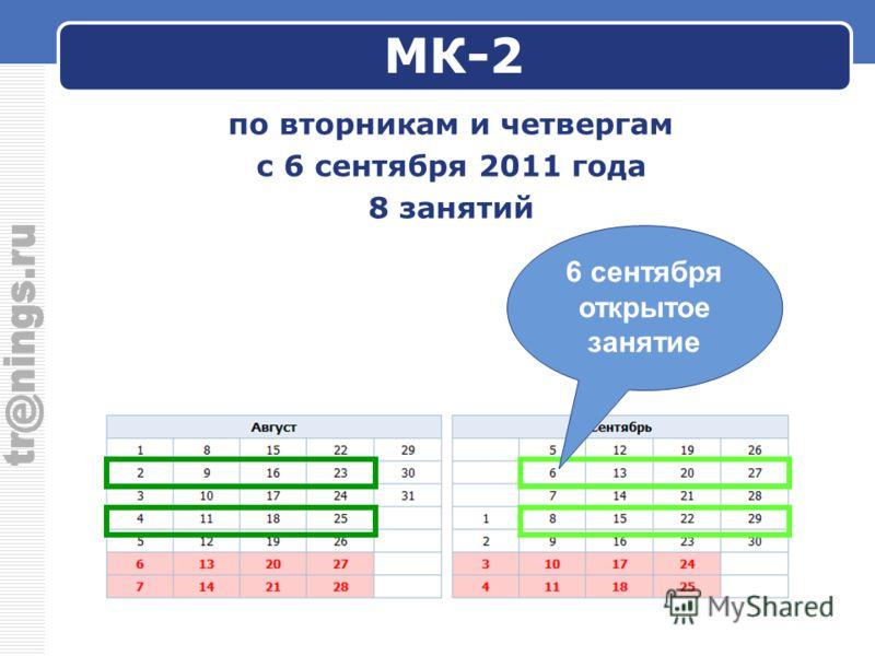 МК-2 по вторникам и четвергам с 6 сентября 2011 года 8 занятий 6 сентября открытое занятие