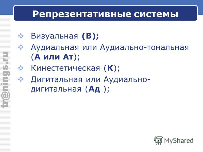 Репрезентативные системы Визуальная (В); Аудиальная или Аудиально-тональная (А или Ат); Кинестетическая (К); Дигитальная или Аудиально- дигитальная (Ад );