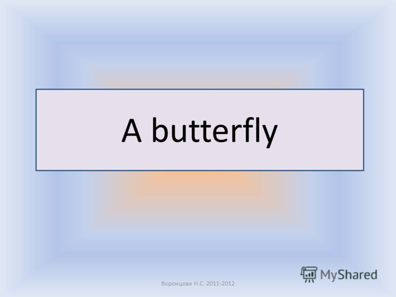 A butterfly Воронцова Н.С. 2011-2012 Open your books and show me a butterfly