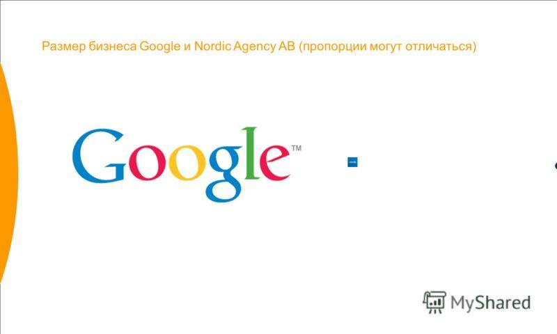 Размер бизнеса Google и Nordic Agency AB (пропорции могут отличаться)