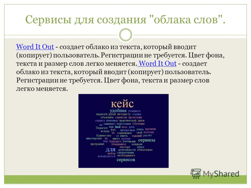 Сервисы для создания облака слов. Word It OutWord It Out - создает облако из текста, который вводит (копирует) пользователь. Регистрации не требуется. Цвет фона, текста и размер слов легко меняется. Word It Out