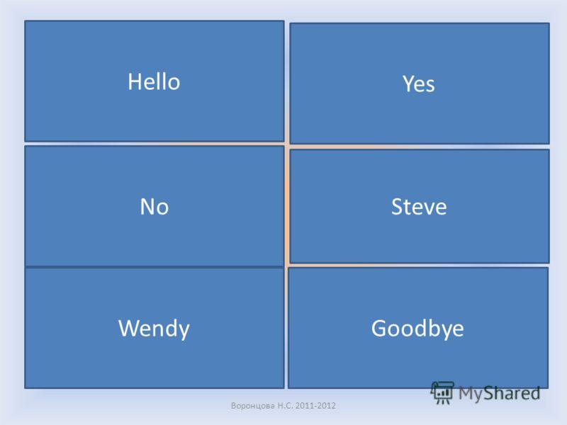 Read the words (прочитаем): Hello Yes No Steve Wendy Goodbye Воронцова Н.С. 2011-2012
