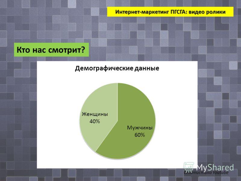 Интернет-маркетинг ПГСГА: видео ролики Кто нас смотрит? Статистика Youtube