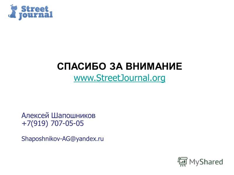 Пример структуры презентации Алексей Шапошников +7(919) 707-05-05 Shaposhnikov-AG@yandex.ru СПАСИБО ЗА ВНИМАНИЕ www.StreetJournal.org !