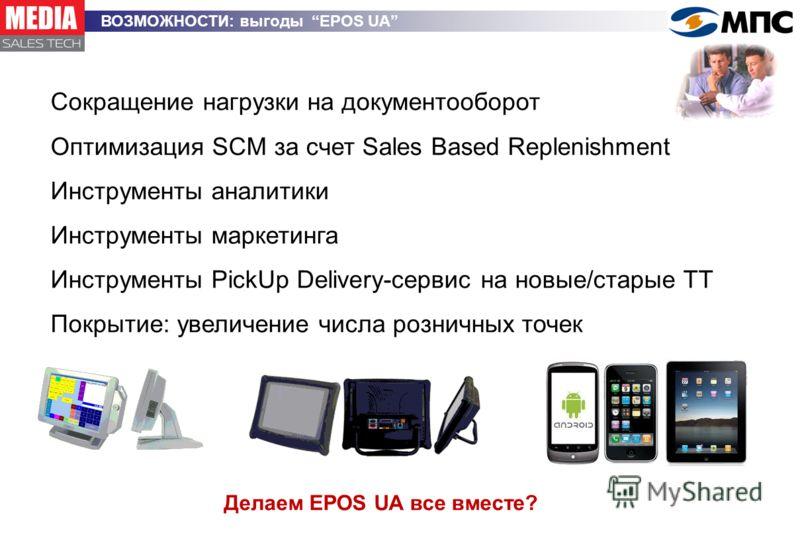 ВОЗМОЖНОСТИ: выгоды EPOS UA Сокращение нагрузки на документооборот Оптимизация SCM за счет Sales Based Replenishment Инструменты аналитики Инструменты маркетинга Инструменты PickUp Delivery-сервис на новые/старые ТТ Покрытие: увеличение числа розничн