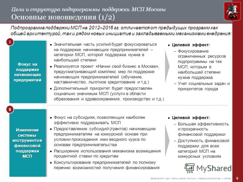 6 Департамент науки, промышленной политики и предпринимательства г. Москвы Цели и структура подпрограммы поддержки МСП Москвы Основные нововведения (1/2) Фокус на поддержке начинающих предприятий Значительная часть усилий будет фокусироваться на подд