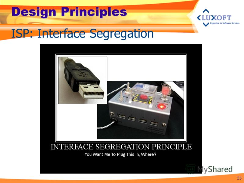 Design Principles 55 ISP: Interface Segregation