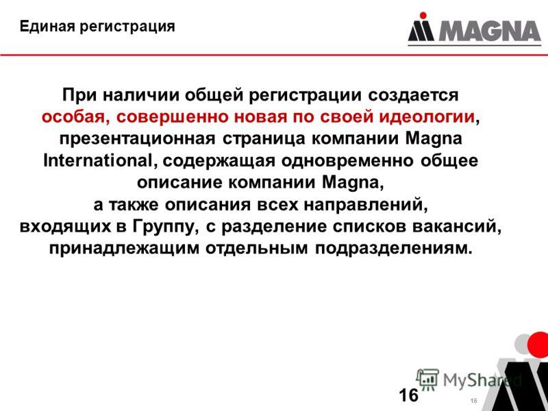 16 Единая регистрация При наличии общей регистрации создается особая, совершенно новая по своей идеологии, презентационная страница компании Magna International, содержащая одновременно общее описание компании Magna, а также описания всех направлений