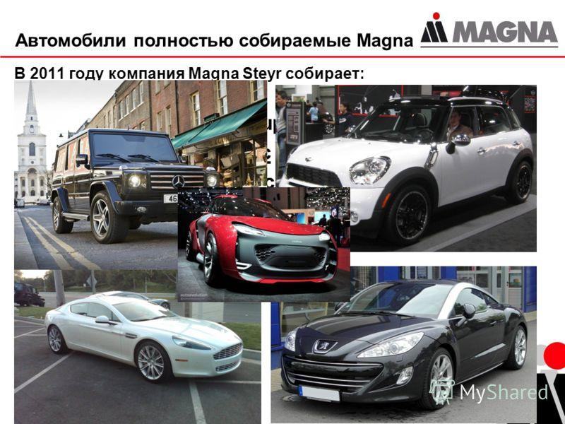 3 Автомобили полностью собираемые Magna В 2011 году компания Magna Steyr собирает: Aston Martin Rapide (Super Speedster Plus) Mercedes-Benz G-класс Mini Countryman (Кроссовер) Peugeot RCZ И собственную марку MILA