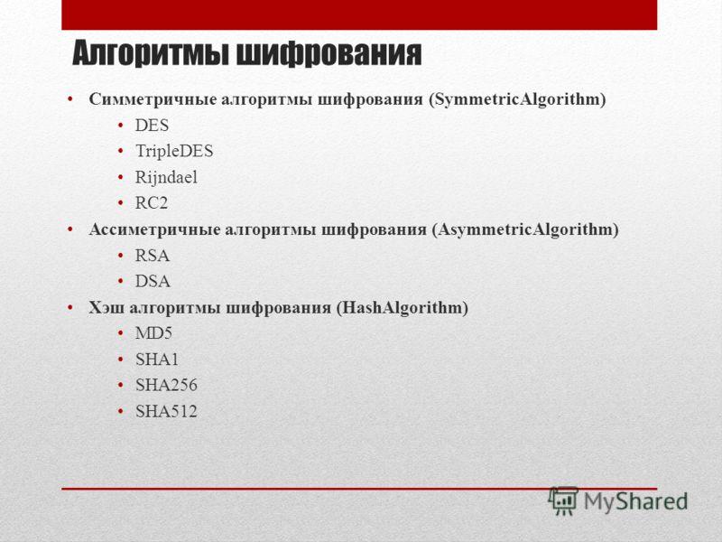 Алгоритмы шифрования Симметричные алгоритмы шифрования (SymmetricAlgorithm) DES TripleDES Rijndael RC2 Ассиметричные алгоритмы шифрования (AsymmetricAlgorithm) RSA DSA Хэш алгоритмы шифрования (HashAlgorithm) MD5 SHA1 SHA256 SHA512