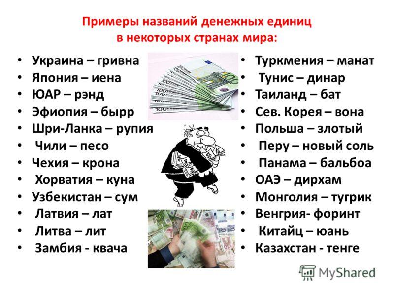 Примеры названий денежных единиц в некоторых странах мира: Украина – гривна Япония – иена ЮАР – рэнд Эфиопия – бырр Шри-Ланка – рупия Чили – песо Чехия – крона Хорватия – куна Узбекистан – сум Латвия – лат Литва – лит Замбия - квача Туркмения – манат