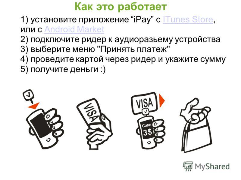Как это работает 1) установите приложение iPay с ITunes Store, или c Android MarketITunes StoreAndroid Market 2) подключите ридер к аудиоразьему устройства 3) выберите меню
