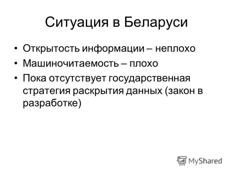 Ситуация в Беларуси Открытость информации – неплохо Машиночитаемость – плохо Пока отсутствует государственная стратегия раскрытия данных (закон в разработке)