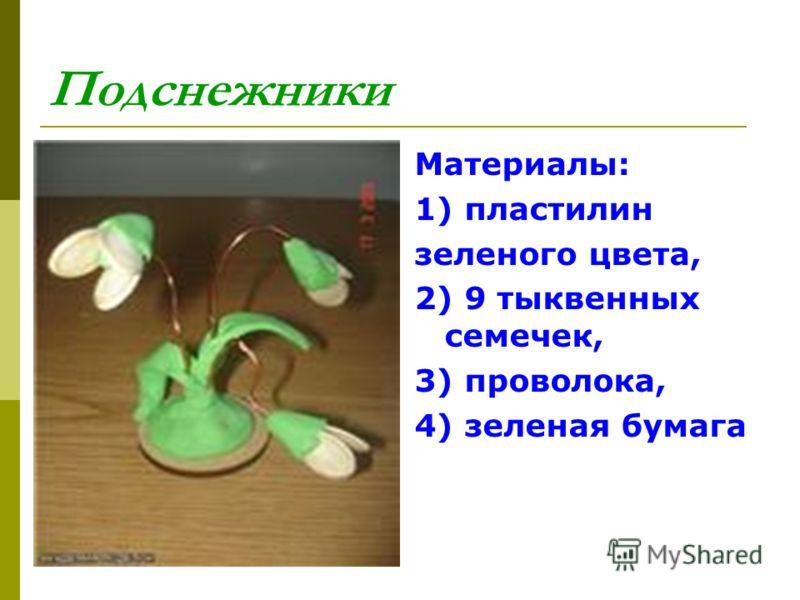 Подснежники Материалы: 1) пластилин зеленого цвета, 2) 9 тыквенных семечек, 3) проволока, 4) зеленая бумага