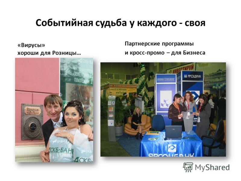 Событийная судьба у каждого - своя «Вирусы» хороши для Розницы… Партнерские программы и кросс-промо – для Бизнеса