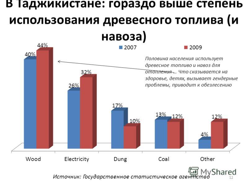 12 В Таджикистане: гораздо выше степень использования древесного топлива (и навоза) Источник: Государственное статистическое агентство
