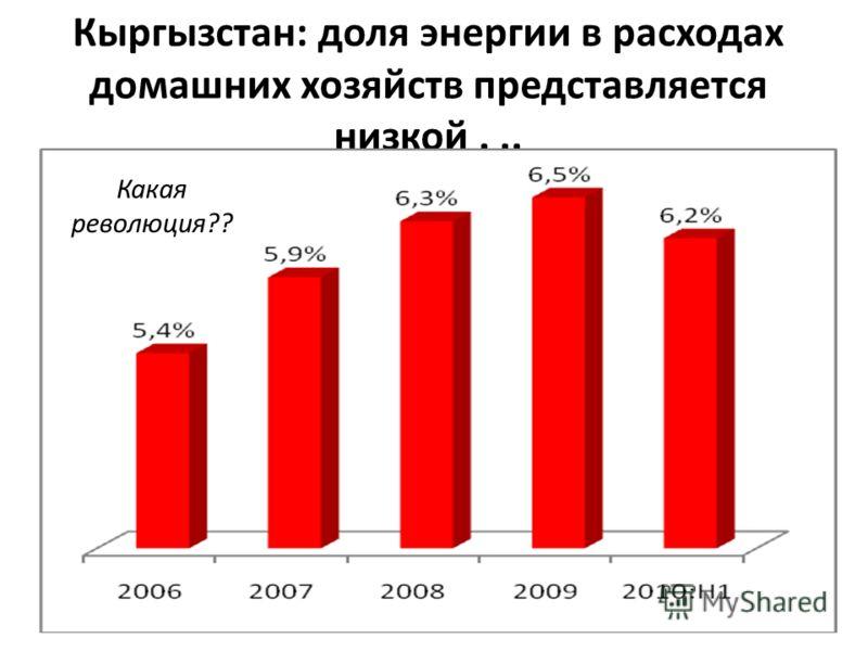 Кыргызстан: доля энергии в расходах домашних хозяйств представляется низкой... Какая революция??