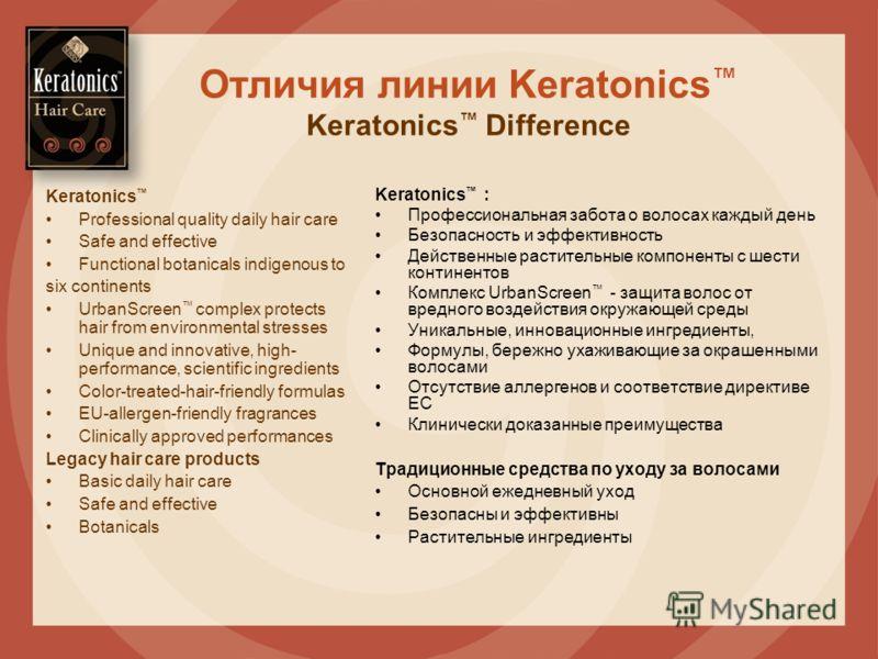 Отличия линии Keratonics Keratonics Difference Keratonics : Профессиональная забота о волосах каждый день Безопасность и эффективность Действенные растительные компоненты с шести континентов Комплекс UrbanScreen - защита волос от вредного воздействия
