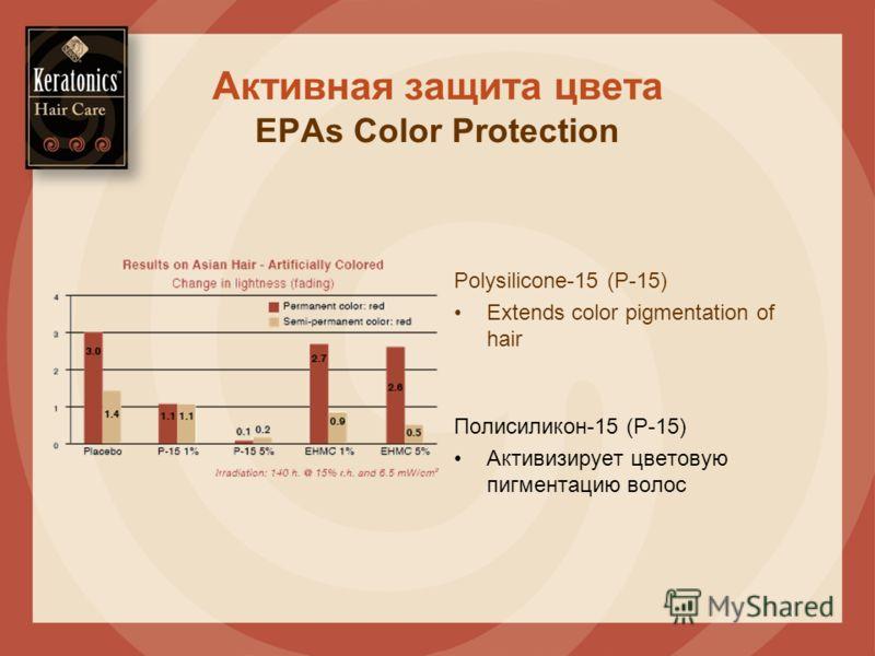 Активная защита цвета EPAs Color Protection Полисиликон-15 (P-15) Активизирует цветовую пигментацию волос Polysilicone-15 (P-15) Extends color pigmentation of hair