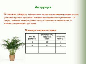 Установка таймера. Таймер имеет четыре настраиваемых параметра для установки времени орошения. Значение выставленное по умолчанию – 25 секунд. Значение таймера должно быть установлено в зависимости от количества орошаемых растений. Примерное время по