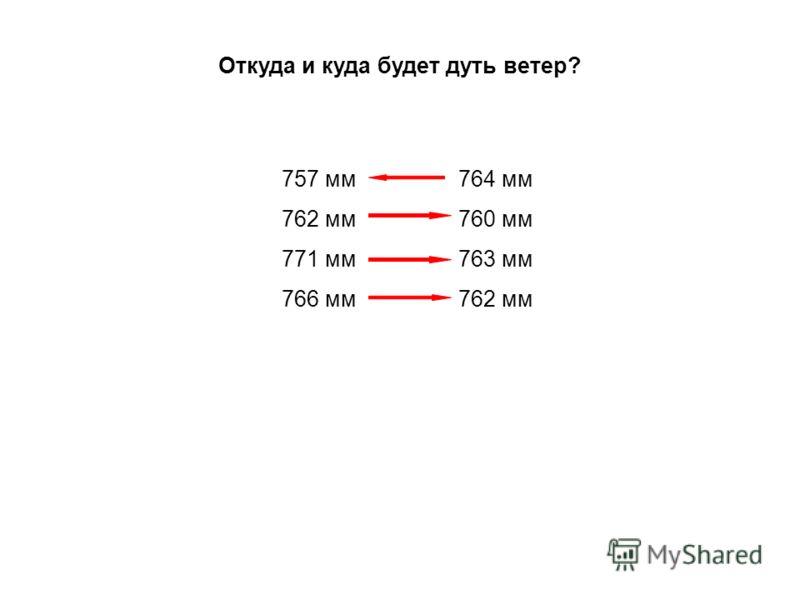 Откуда и куда будет дуть ветер? 757 мм 762 мм 771 мм 766 мм 764 мм 760 мм 763 мм 762 мм