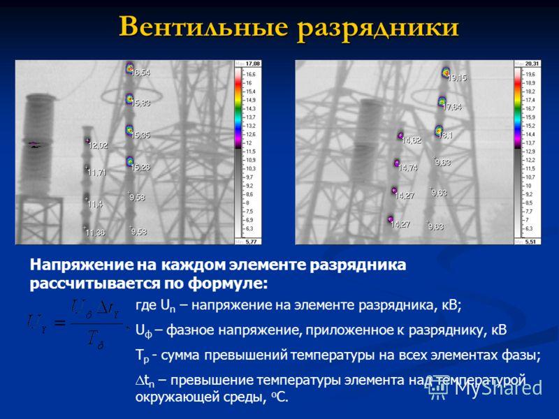 Вентильные разрядники Напряжение на каждом элементе разрядника рассчитывается по формуле: где U n – напряжение на элементе разрядника, кВ; U ф – фазное напряжение, приложенное к разряднику, кВ Т р - сумма превышений температуры на всех элементах фазы
