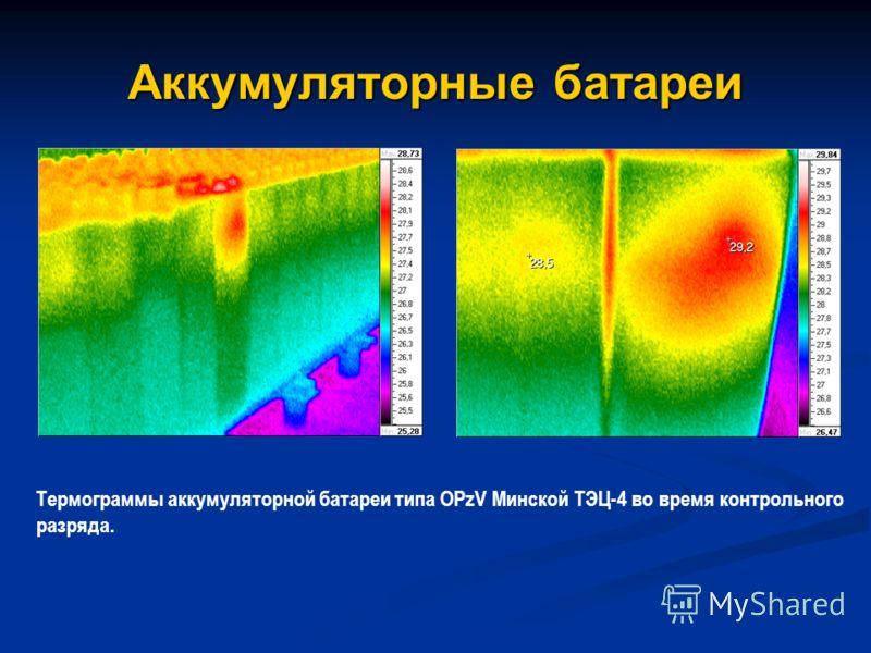Аккумуляторные батареи Термограммы аккумуляторной батареи типа OPzV Минской ТЭЦ-4 во время контрольного разряда.