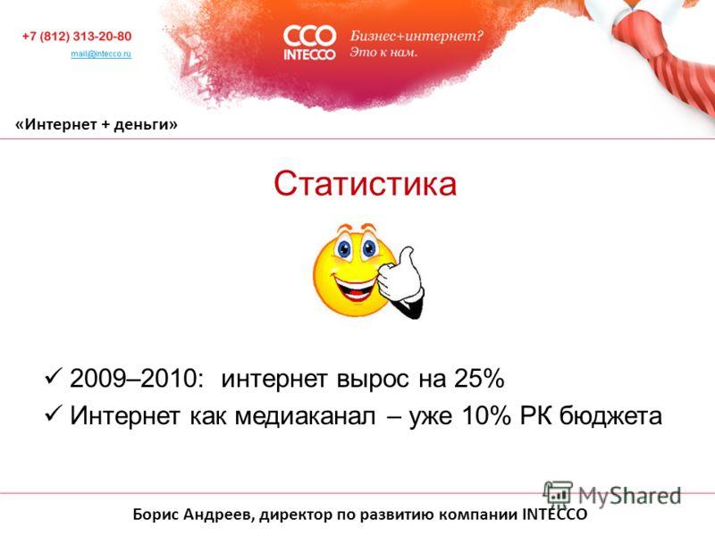 Борис Андреев, директор по развитию компании INTECCO «Интернет + деньги» 2009–2010: интернет вырос на 25% Интернет как медиаканал – уже 10% РК бюджета Статистика