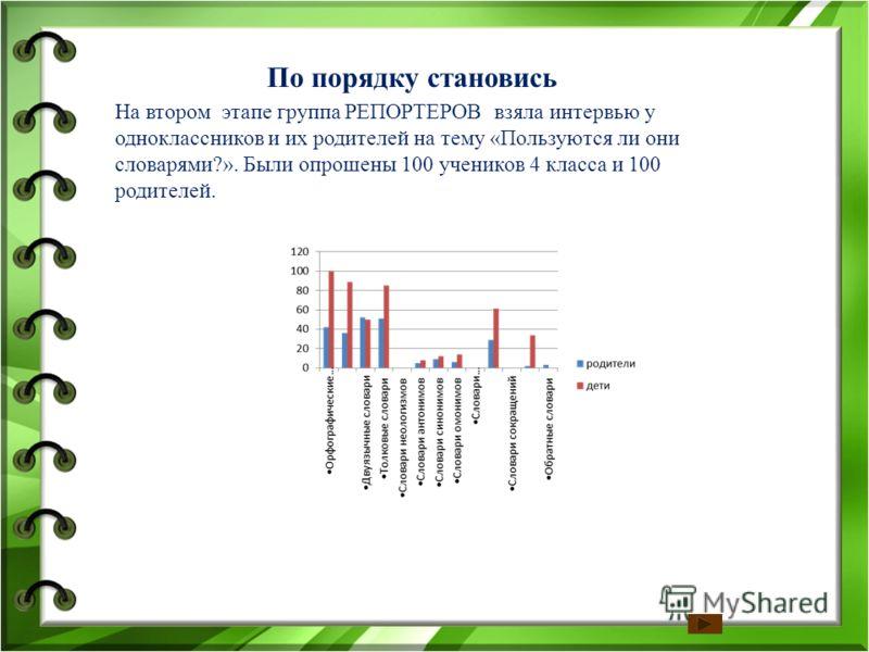 На втором этапе группа РЕПОРТЕРОВ взяла интервью у одноклассников и их родителей на тему «Пользуются ли они словарями?». Были опрошены 100 учеников 4 класса и 100 родителей. По порядку становись