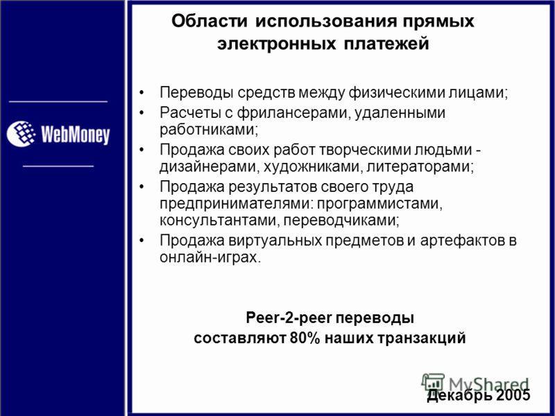 Декабрь 2005 Области использования прямых электронных платежей Переводы средств между физическими лицами; Расчеты с фрилансерами, удаленными работниками; Продажа своих работ творческими людьми - дизайнерами, художниками, литераторами; Продажа результ