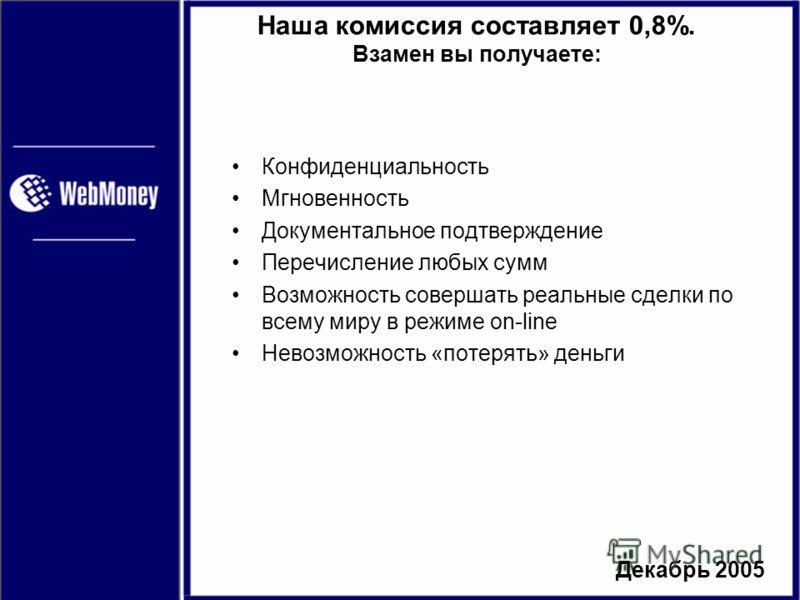 Декабрь 2005 Наша комиссия составляет 0,8%. Взамен вы получаете: Конфиденциальность Мгновенность Документальное подтверждение Перечисление любых сумм Возможность совершать реальные сделки по всему миру в режиме on-line Невозможность «потерять» деньги